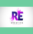 re r e purple letter logo design with liquid vector image vector image