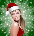 santa girl with santa hat vector image vector image