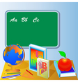 school board with globe book and apple vector image