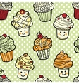 Seamless pattern with cute smiling cupcakes on vector image