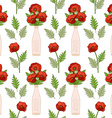 Seamless pattern with poppies in vases vector image