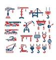 Set color icons of crane lifts winches and hooks vector image vector image