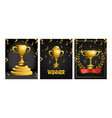 set cups prizes with confetti to champion vector image
