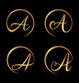 set luxury letter a vector image