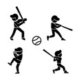 set of baseball icons in silhouette style vector image vector image