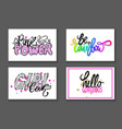 set of graffiti fonts slogans vector image