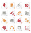 stylized electronic devices objects icons vector image vector image