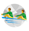 two sportsman in boat on gray background vector image vector image