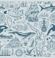 vintage seamless pattern on theme sea travel vector image