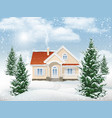 winter landscape residential building vector image vector image