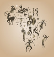 zodiac map of africa signs of the zodiac african vector image