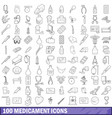 100 medicament icons set outline style vector image vector image