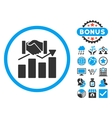 Acquisition Graph Flat Icon with Bonus vector image vector image