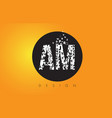 am a m logo made of small letters with black vector image vector image