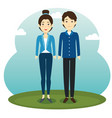 asian couple standing design vector image