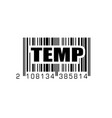 bar code with temp temporary label vector image vector image