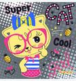 beautiful cat girl wearing bow headband vector image vector image