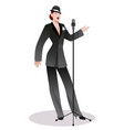 beautiful woman wearing hat and male clothes vector image