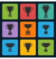 black trophy cup icons set vector image vector image