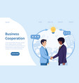 business cooperation and teamwork concept vector image