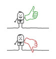 businessman with thumb up and down vector image