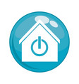 button with house building and power switch vector image