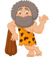 cartoon caveman waving hand vector image vector image