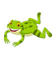 cartoon happy green frog jumping vector image vector image