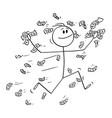 cartoon happy man or businessman running in vector image vector image