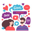 chatting couple male and female romantic online vector image vector image