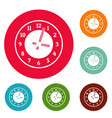 clock concept icons circle set vector image