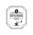 coffee logo with coffee bean and grinder vector image vector image