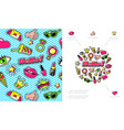 colorful fashion patches composition vector image vector image