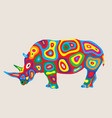 colorfully rhino vector image vector image