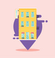 concept hotel search ind hotel on city map vector image