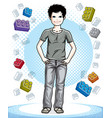 cute little teen boy standing in stylish casual vector image