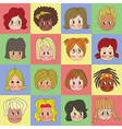 Cute Short Hair Girls Set vector image vector image