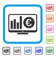 euro market monitoring framed icon vector image vector image