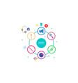 flat design social marketing strategy vector image vector image