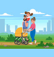 happy family walking in the park on background of vector image vector image
