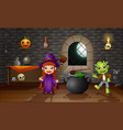 happy halloween little witch and frankenstein vector image vector image