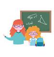 happy teachers day teacher and student girl bag vector image vector image
