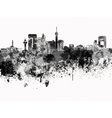 Jeddah skyline in black watercolor on white vector image