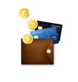 leather wallet with credit cards and gold coins vector image