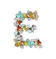 letter e rubbish trash font garbage alphabet vector image vector image