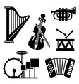 musical tools icons vector image vector image