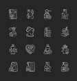 natural cosmetic chalk white icons set on black vector image