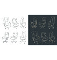 office chairs drawings set vector image