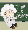 Old professor point to chalkboard vector image