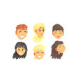 people avatars set face social view vector image